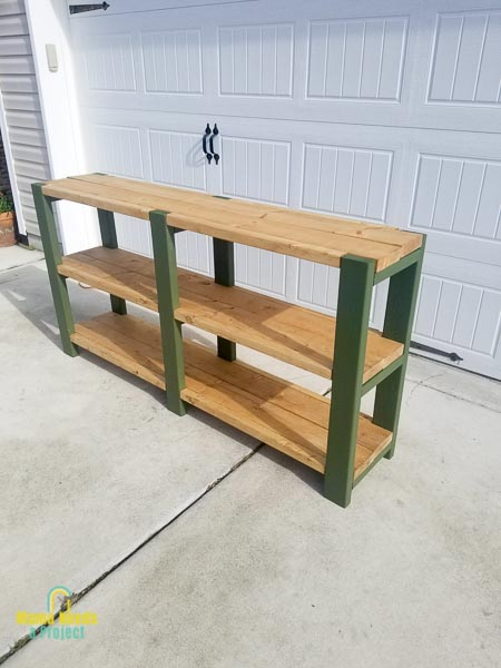 basic storage shelf pictured outside