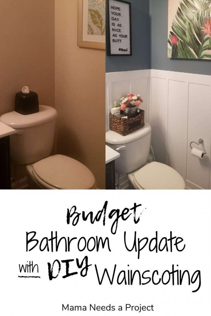 budget bathroom update with DIY wainscoting
