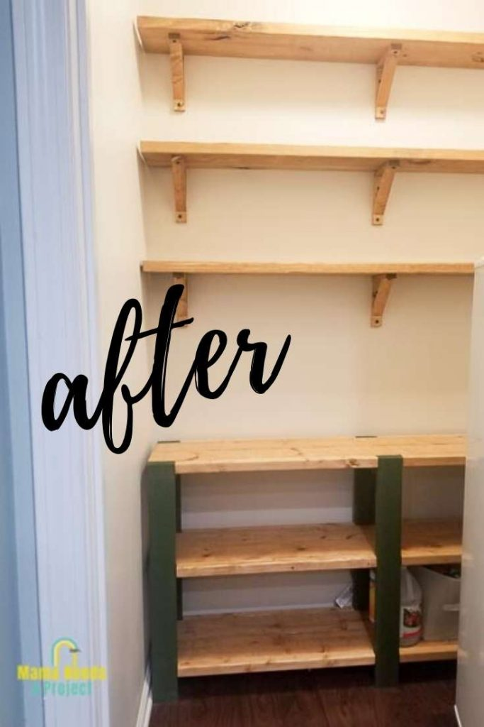walk in pantry with wood open shelving for budget pantry makeover