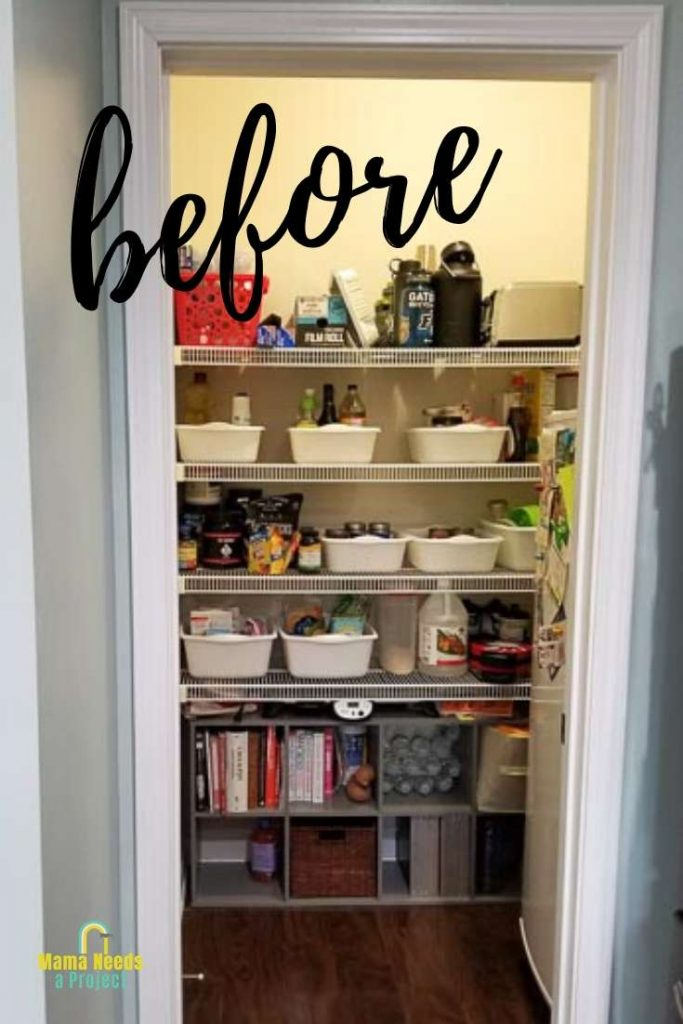 walk in pantry with wire shelving before pantry makeover