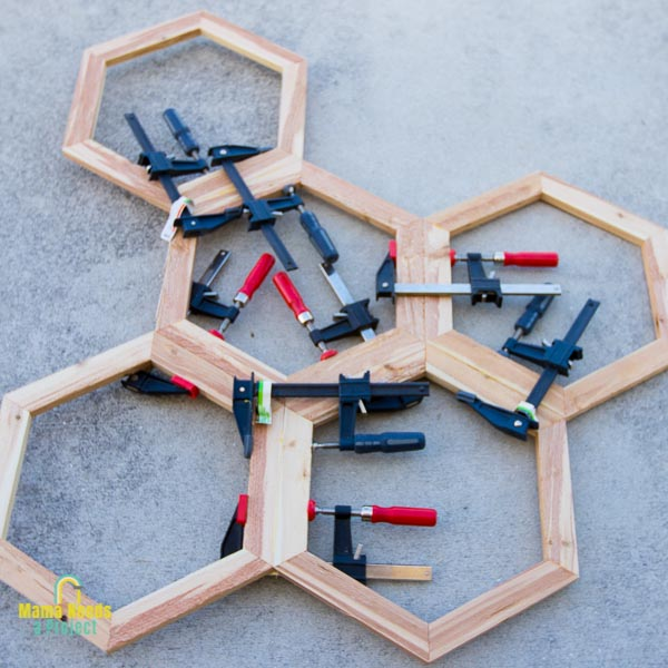 connect hexagons together into a honeycomb shape for DIY garden trellis
