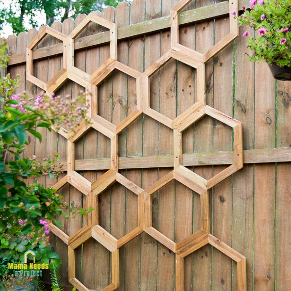 honeycomb diy garden trellis mounted on fence in garden