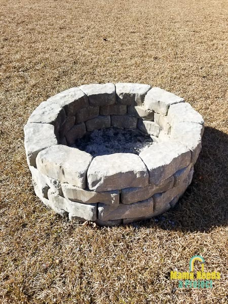 diy stone fire pit completed fire pit