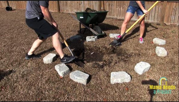dig out grass underneath fire pit