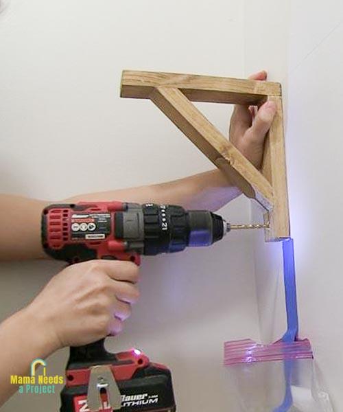 pre-drill holes when installing diy wood shelf brackets