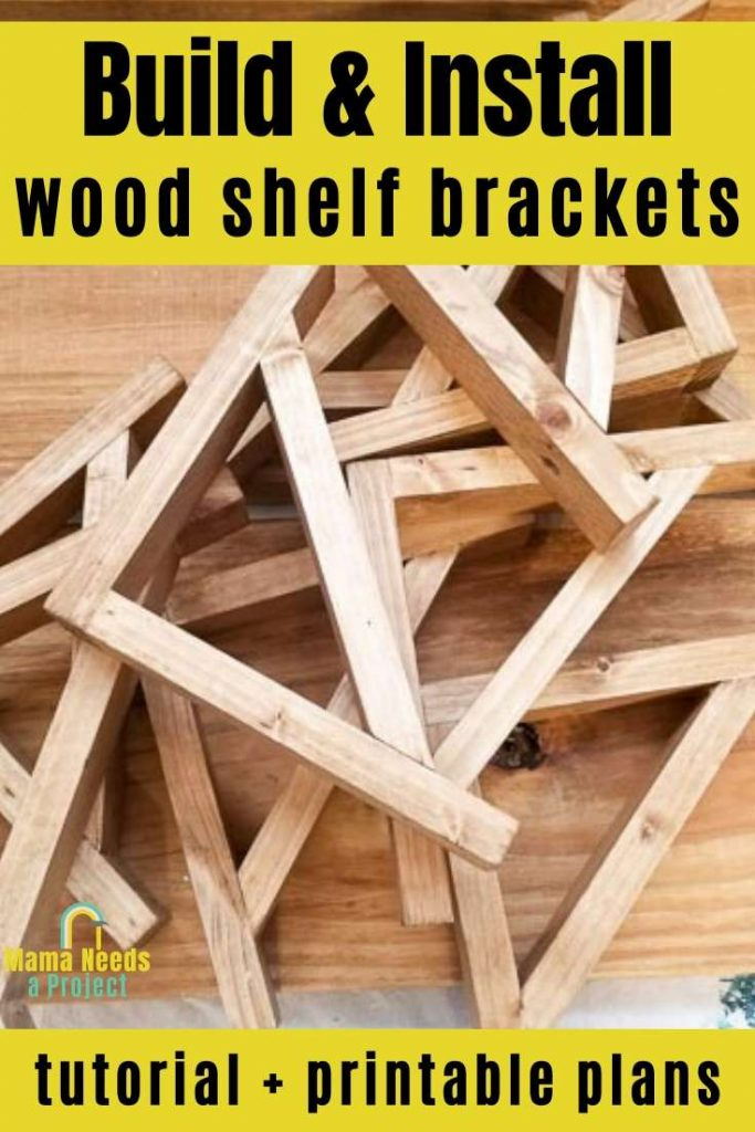 build and install wood shelf brackets tutorial and printable plans