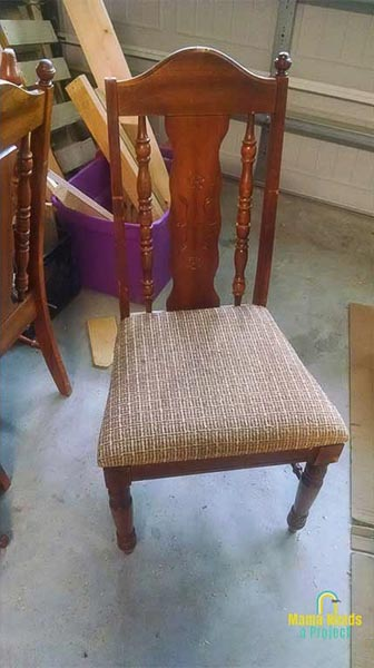 thrifted dining room chair, brown seat and chair frame