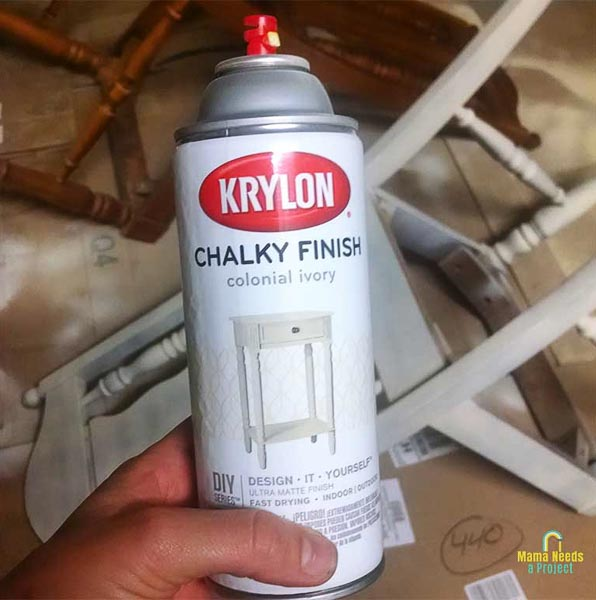 spray paint used to update dining room chairs