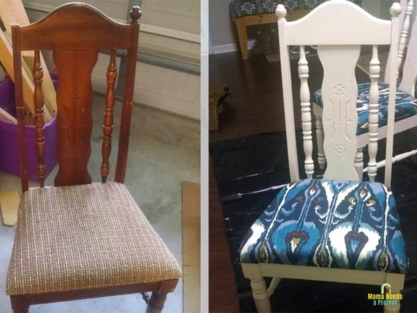 dining room chair update before and after photo