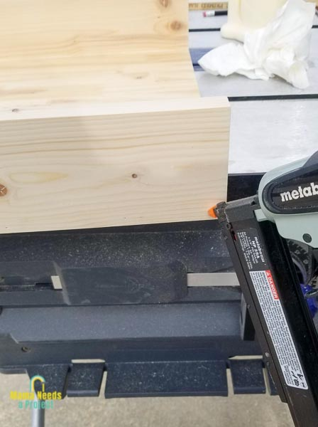 assemble storage tray with wood glue and a pin nailer