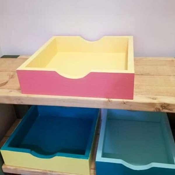 finished easy storage trays in pantry