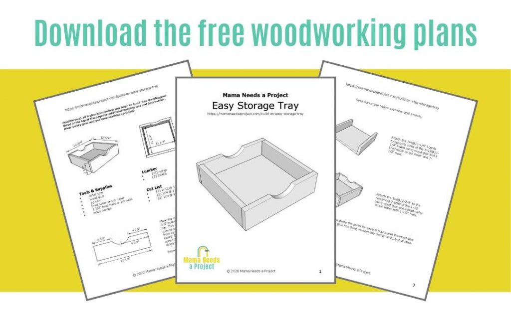 download the free woodworking plans to build an easy storage tray; image of downloadable woodworking plans