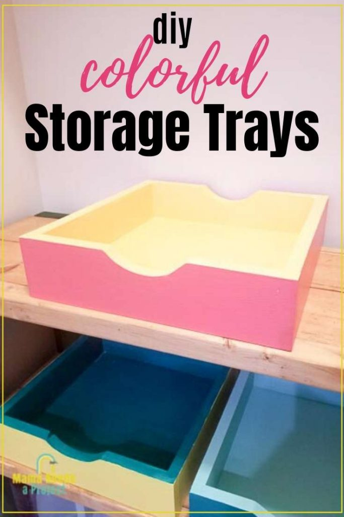 diy colorful storage trays with picture of storage trays on shelf