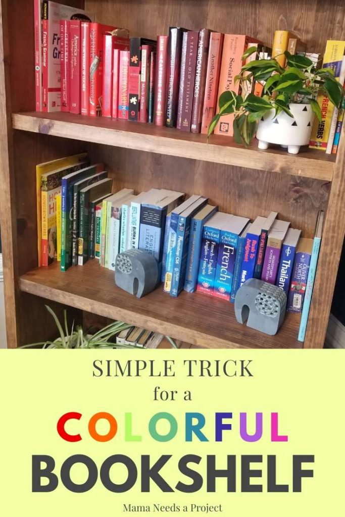 simple trick for a colorful bookshelf