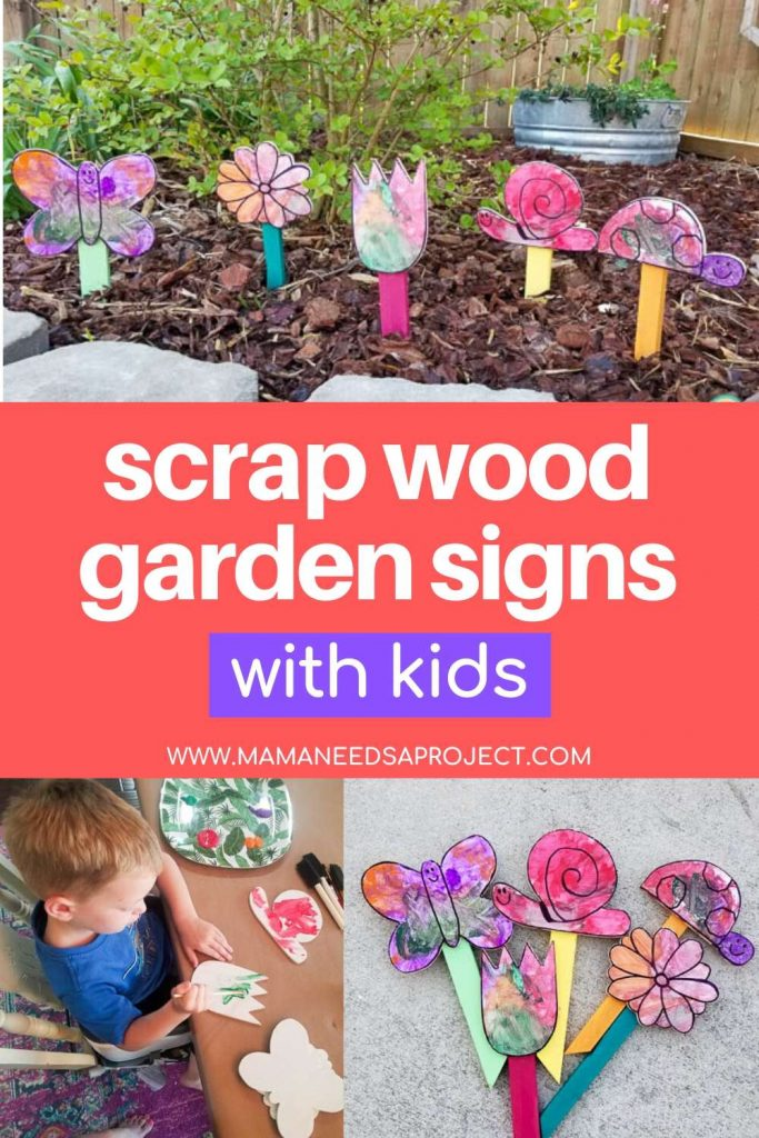 scrap wood garden signs with kids pinterest image