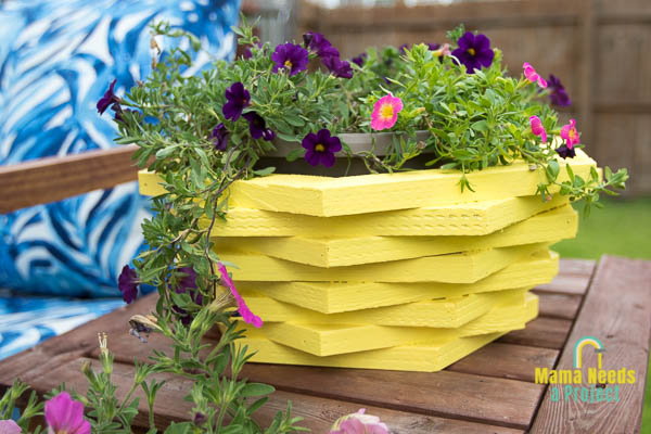 yellow diy wood flower pot