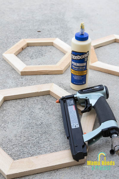 pin nailer and wood glue to build a stacked hexagon flower pot