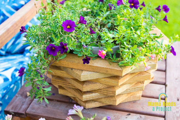 stained stacked hexagon diy wood flower pot with purple and pink flowers