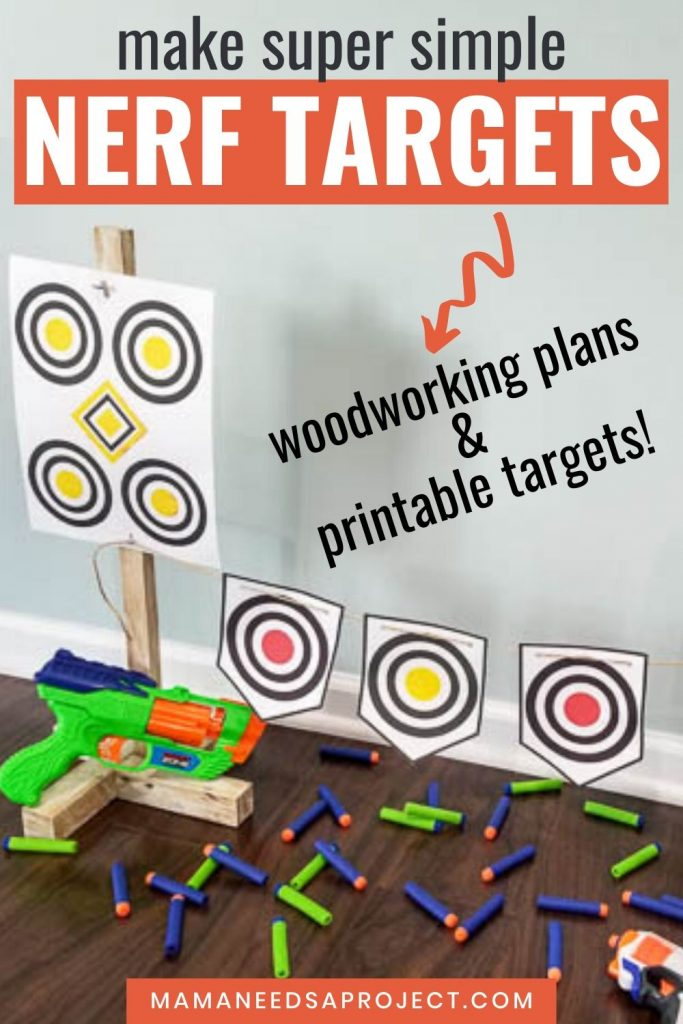 make super simple nerf targets with woodworking plans and printable targets
