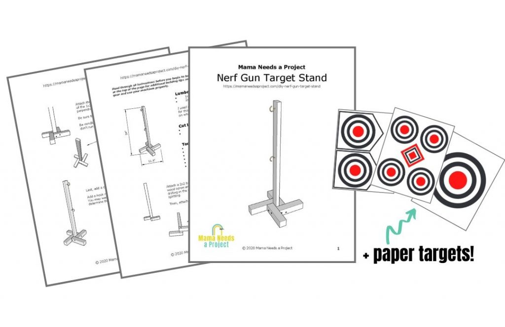 download the free woodworking plans + paper nerf gun targets, image preview of download