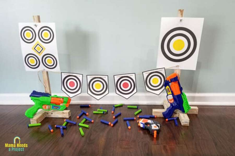 diy nerf gun target stands with printable paper targets, nerf guns and nerf bullets