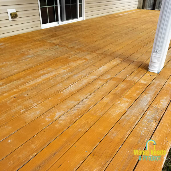 wood deck with faded stain