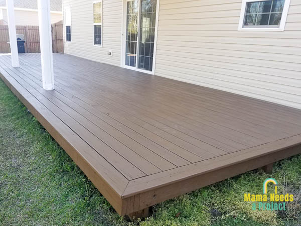 restaining a wood deck, completed deck