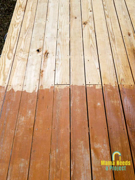 stain removed from wood deck with pressure washer