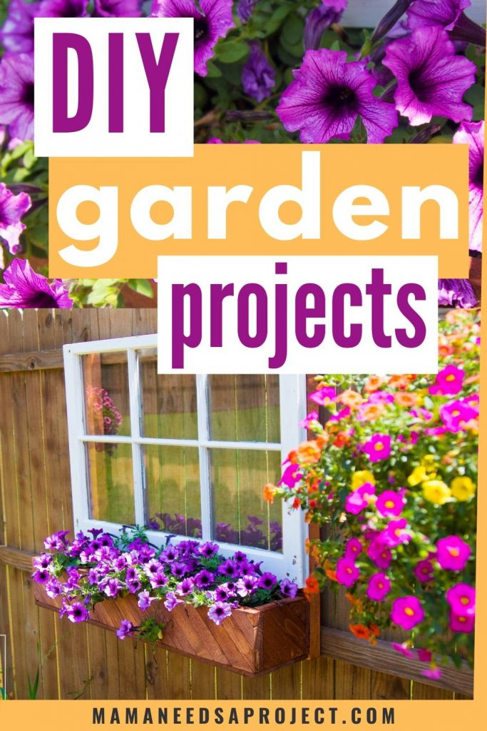 diy garden projects picture of window and flower box on fence with purple flowers