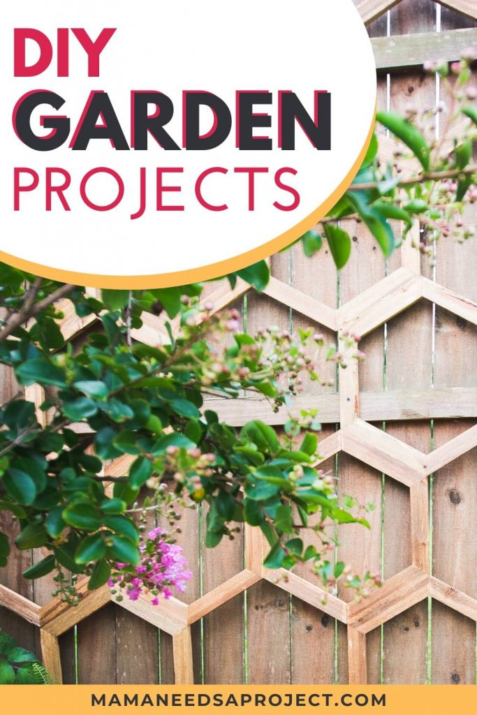 DIY garden projects text in front of honeycomb garden trellis attached to fence
