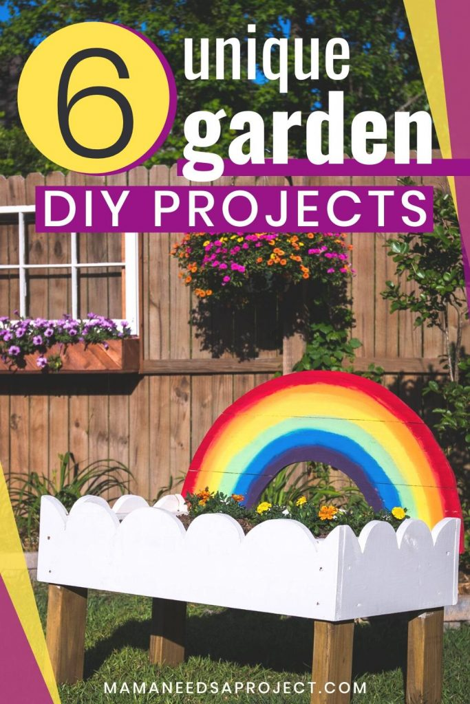 6 unique garden diy projects, picture of small raised flower bed with rainbow design in front of fence with flower box and many colorful flowers