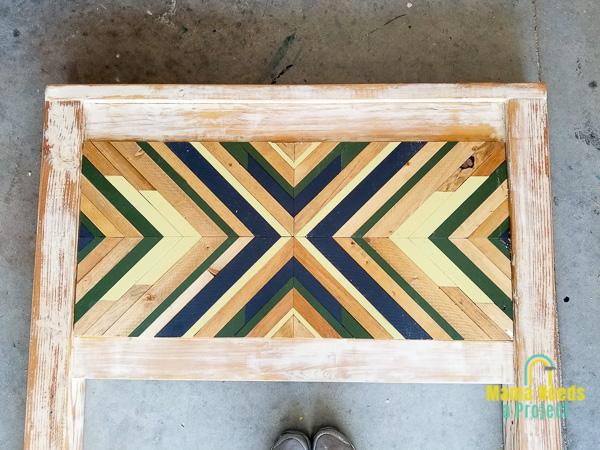 diy twin bed frame headboard with geometric wood art design inlay