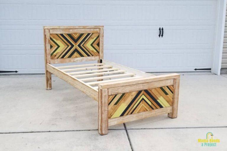 DIY Twin Bed Frame with Geometric Wood Art