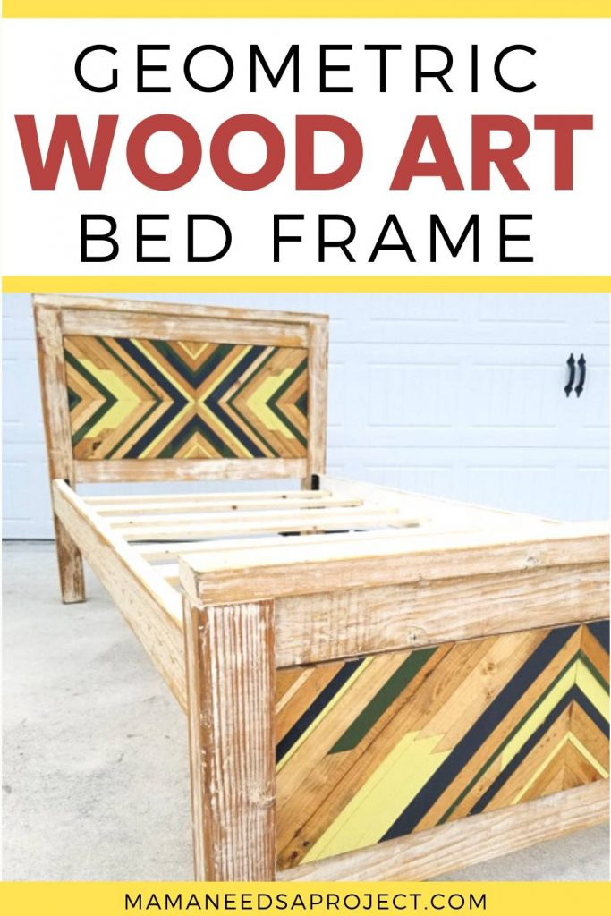 geometric wood art bed frame text overlay with picture of diy twin bed frame with geometric design on headboard and footboard