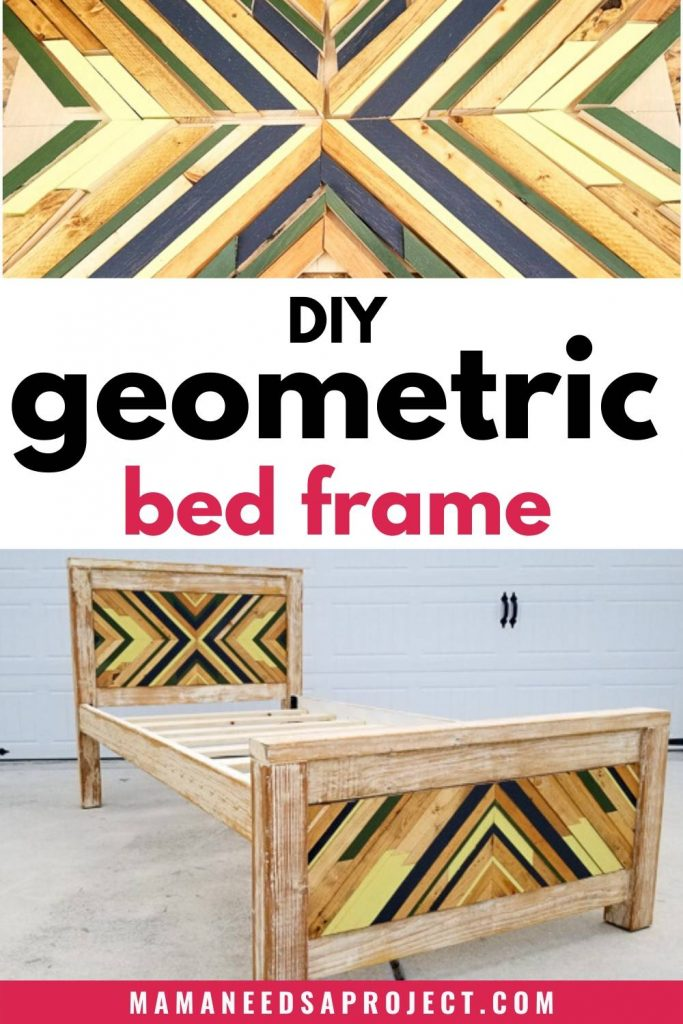 DIY geometric bed frame, close up of geometric wood art, full view of completed diy geometric twin bed frame assembled in front of white background