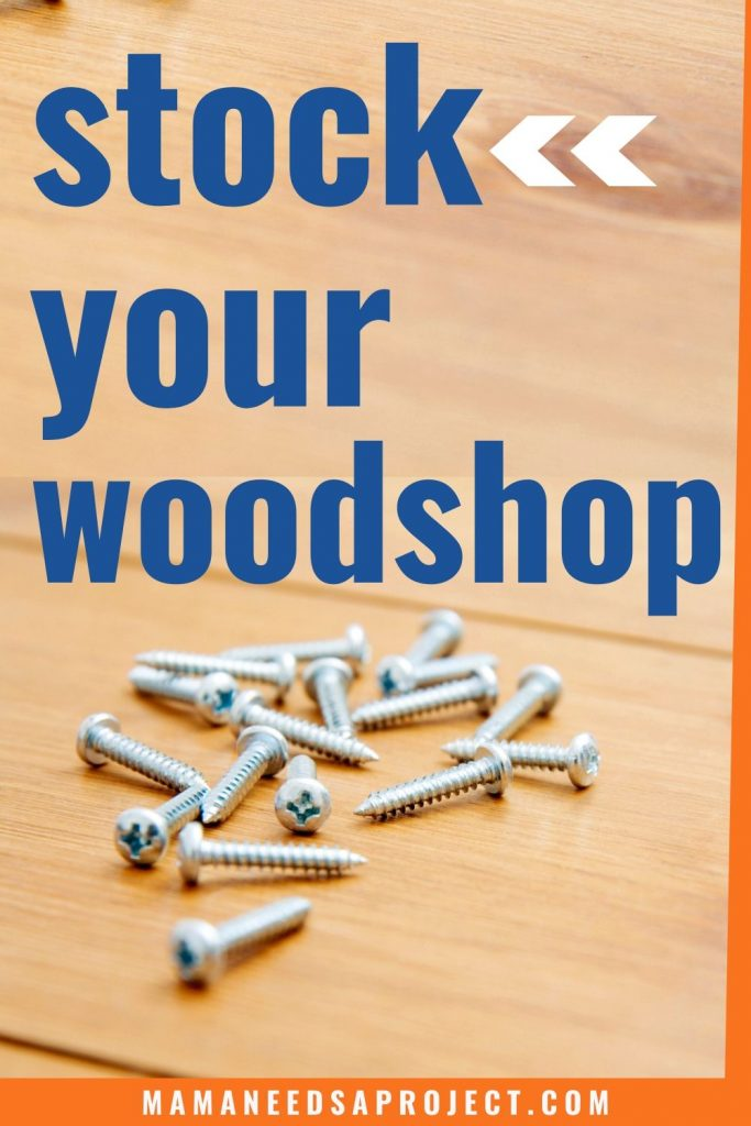 stock your woodshop text overlay on picture of screws on wood