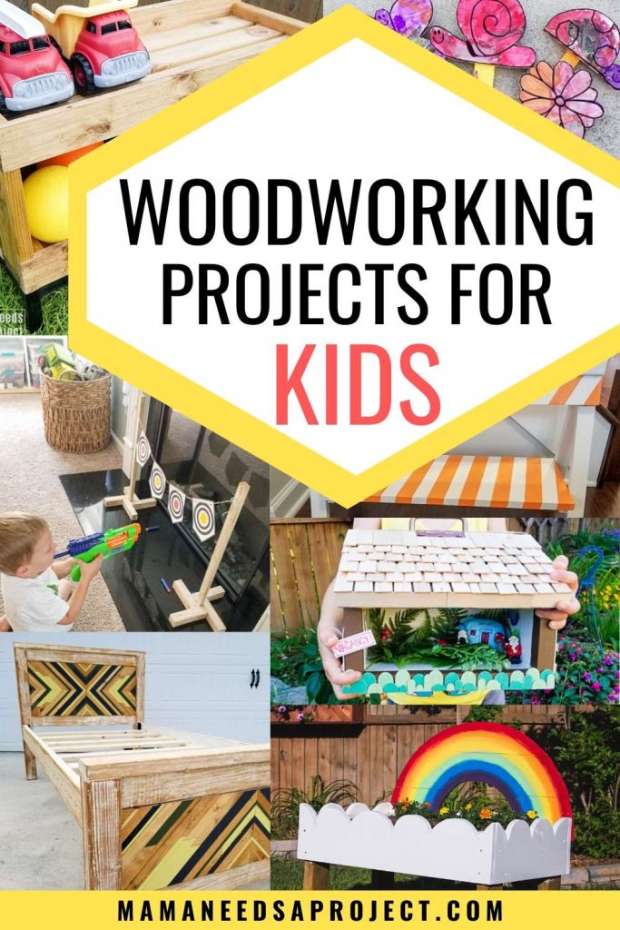 text: woodworking projects for kids over image collage of woodworking projects built for children