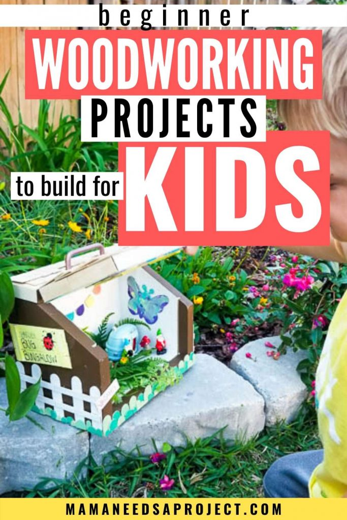 beginner woodworking projects to build for kids, picture of child opening a DIY bug house woodworking project