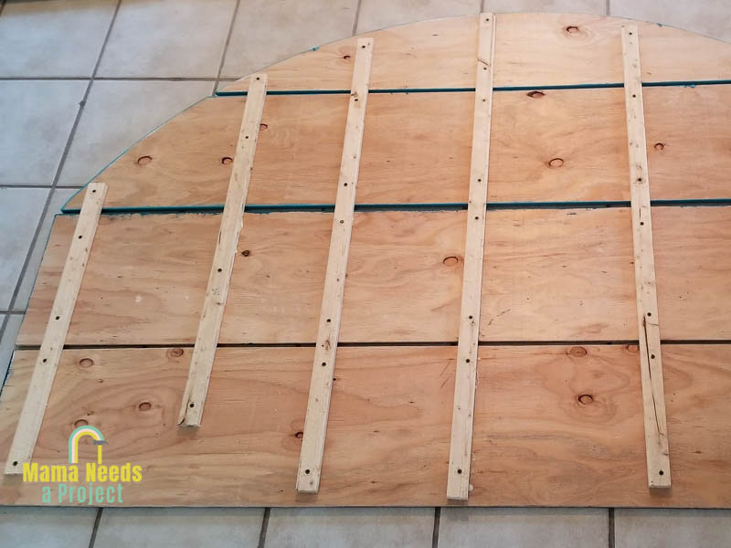 1x2 strips attached to back of half circle headboard