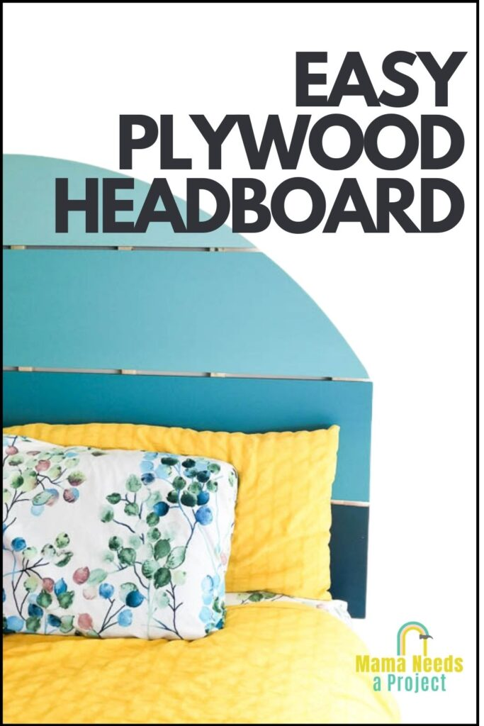 text easy plwood headboard over photo of blue half circle headboard