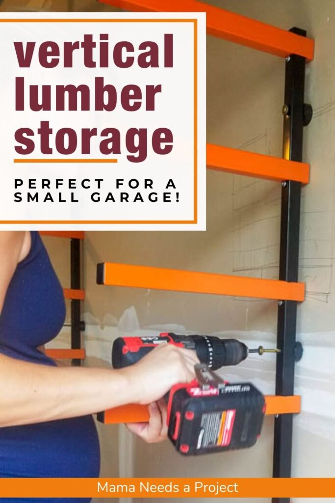 (text) vertical lumber storage perfect for a small garage! photo of vertical lumber storage rack being installed on garage wall