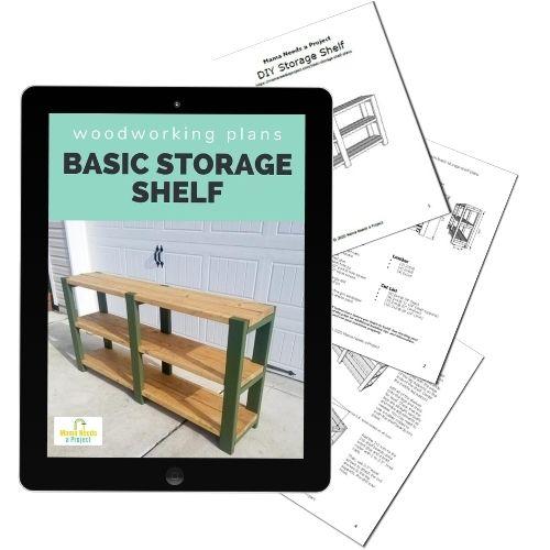 basic storage shelf woodworking plan mock up