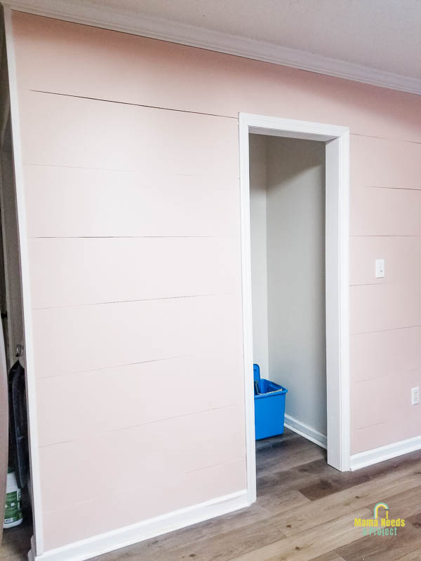 completed DIY modern shiplap wall