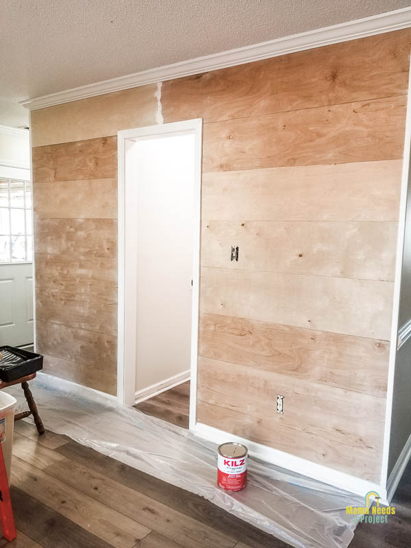DIY wood planked wall ready for primer
