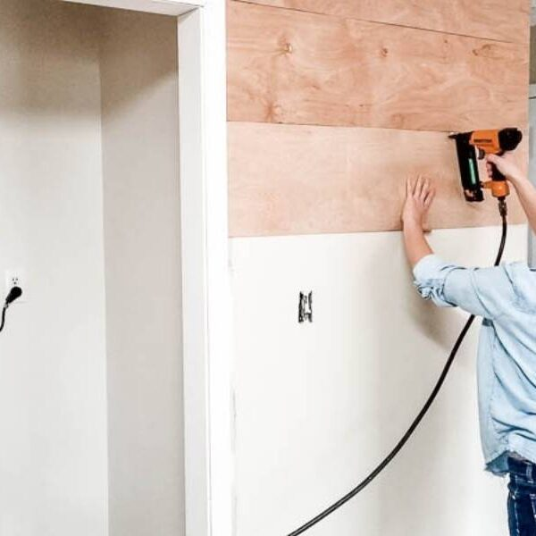 attach wood planks to wall with a nail gun