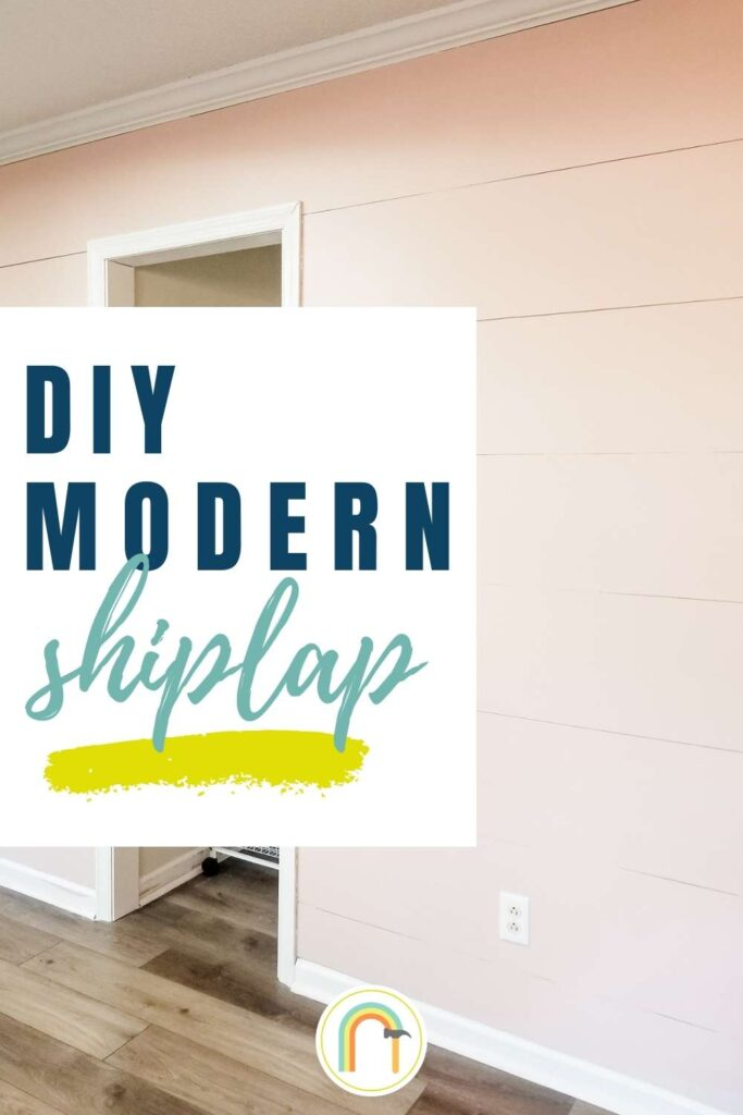 Text: DIY Modern Shiplap overlay on picture of iight pink wood planked wall