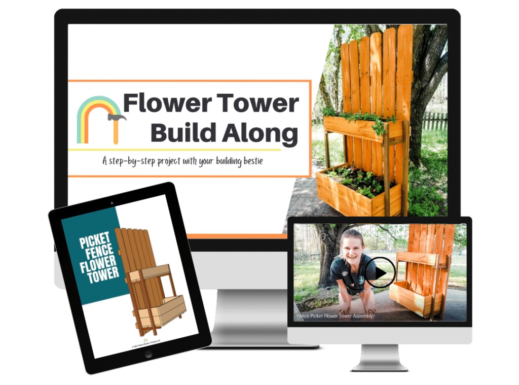 Flower Tower Build Along online beginner woodworking course mock up - picture of computer screens and tablet screen with online woodworking course material