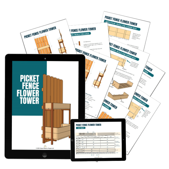 mock up of picket fence flower tower woodworking plans