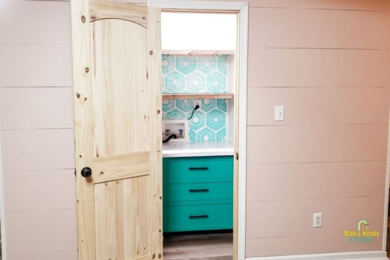 Small DIY Pantry Closet with shelves & drawers | From Kitchen Laundry to Pantry