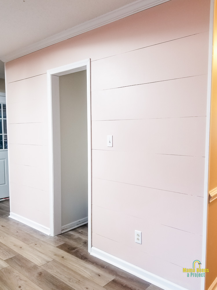 light pink planked wall with closet opening in the middle